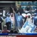 News: President Buhari, Oshiomhole And Other Party Members Stoned At Ogun APC Rally (Video)